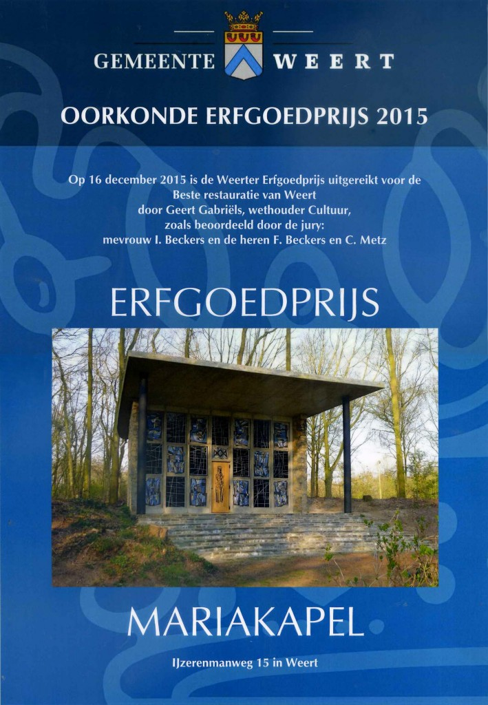 oorkonde erfgoedprijs 2015
